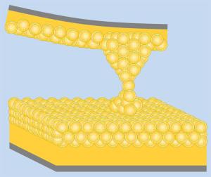 Penjant d'un àtom d'or.  (Credit: J. N. Armstrong/SUNY-Buffalo)
