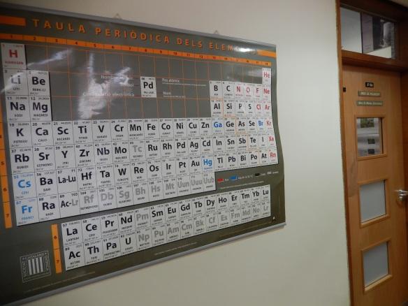 Mare meva, quina sorpresa! A la porta del despatx del Professor Poliakoff em rep la nostra Taula Periòdica catalana, editada per la Societat Catalana de Química!