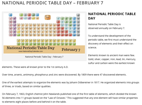national periodic table day 2016